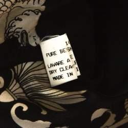 Brioni Black Cashmere Detachable Fur Collar Detail Belted Long Coat XXL