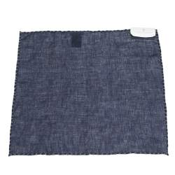 Brunello Cucinelli Navy Blue Cross Stitch Detail Linen Pocket Square