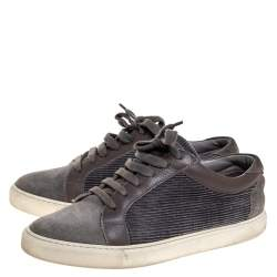 Brunello Cucinelli Grey Suede, Corduroy And Leather Trim Apollo Lace Up Sneaker Size 40