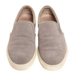 Brunello Cucinelli Grey Perforated Suede And Fabric Slip On Sneakers Size 39