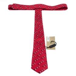 Burberry Parade Red Heritage Logo Print Narrow Silk Tie