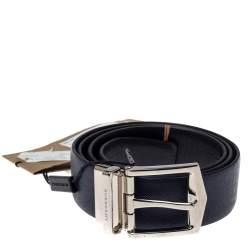Burberry Navy Blue Leather James Reversible Belt 90CM