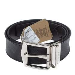 Burberry Grey Smoked Check Coated Canvas James Reversible Belt 75CM