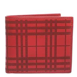 Burberry Red Perforated Leather Bill Bifold Wallet