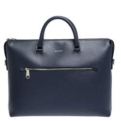 Burberry Blue Leather Manchester Briefcase