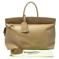 Burberry Beige Leather Extra Large Society Top Handle Bag