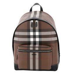 حقيبة ظهر بربري كانفاس كاروهات بني داكن