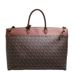 Burberry Bridle Brown Coated Canvas and Leather Extra Large Society Top Handle Bag