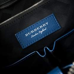Burberry Deep Blue Leather Hambleton Briefcase
