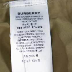 Burberry London Khaki Cotton Logo Detail Long Sleeve Button Front Shirt XXL
