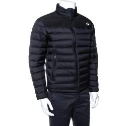 Burberry Black Synthetic Birkenshaw Logo Patch Detail Quilted Down Jacket XS