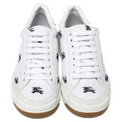 Burberry White Leather Timsbury Low Top Sneakers Size 40