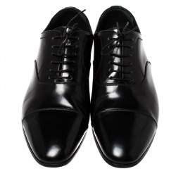 Burberry Black Leather Millstead Lace Up Oxfords Size 43
