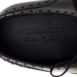 Burberry Black Brogue Leather Chain Link Lace Up Oxford Size 43