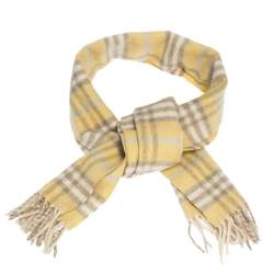 Burberry Light Yellow Nova Check Cashmere & Wool Fringed Scarf