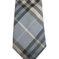 Burberry Pale Blue & Beige Checked Silk Tie