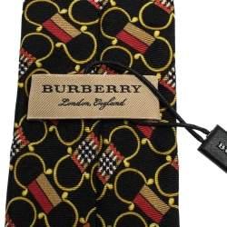 Burberry Multicolor Horsebit Novacheck Flag Print Skinny Silk Stanfield Tie
