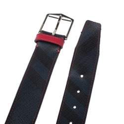 Burberry Navy Blue/Red Smoked Check Coated Canvas Joe Buckle Belt 100CM