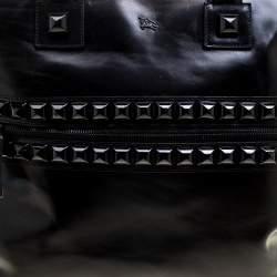 Burberry Black Glazed Leather Studded Tote
