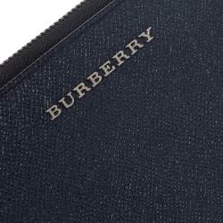 Burberry Navy Blue Leather Zip Around Wallet