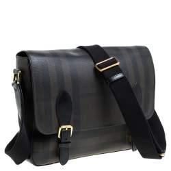 Burberry Grey Smoked Check PVC and Leather Hendley Messenger Bag