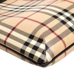 Burberry Beige/Brown Haymarket Check Coated Canvas Pocket Zip Messenger Bag