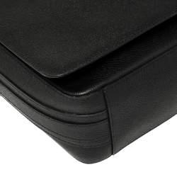 Burberry Black Leather Flap Messenger Bag