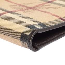 Burberry Beige/Brown Haymarket Check Coated Canvas and Leather Bifold Wallet