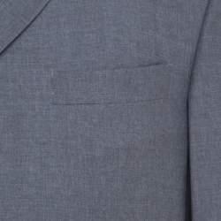 Burberry Grey Melange Wool Tailored Blazer L