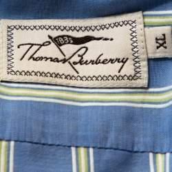 Burberry Vintage Blue Striped Cotton Button Down Shirt XL
