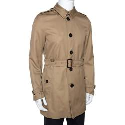 Burberry Camel Beige Cotton Belted Britton Trench Coat M
