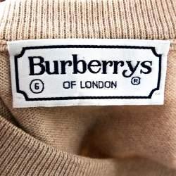 Burberry Vintage Beige Merino Wool V Neck Sweater XL