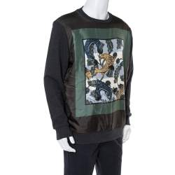 Burberry Black Printed Silk & Knit Sweatshirt XL