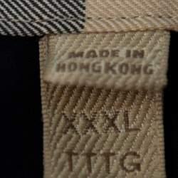 Burberry Brit Navy Blue Cotton Nova Check Detail Button Front Shirt XXXL