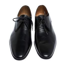 Burberry Black Leather Menning Lace Up Oxfords Size 44