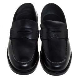 Burberry Black Leather Bedmont Penny Loafers Size 43.5