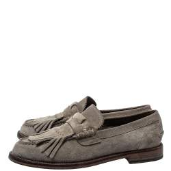 Burberry Grey Suede Bedmoore Fringe Detail Penny Loafers Size 42.5
