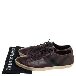 Burberry Brown House Check Canvas And Leather Lace Up Low Top Sneakers Size 43