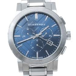 Burberry Blue Stainless Steel The City BU9363 Chronograph Men's Wristwatch 42 mm