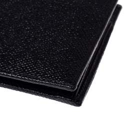 Bvlgari Black Grained Leather Bifold Wallet