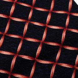 Bvlgari Davide Pizzigoni Navy Blue Ribbon Print Silk Seven Fold Tie