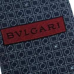 Bvlgari Dark Blue Euclidea Pattern Silk Tie