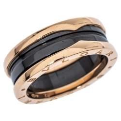 Bvlgari B.zero1 Ceramic 18K Rose Gold Two Band Ring Size 62