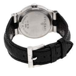 Bvlgari Black Stainless Steel Leather Diagono LC35S Men's Wristwatch 35 mm