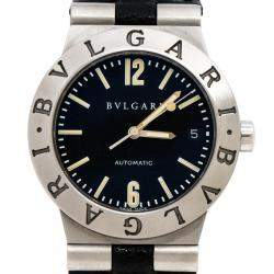 Bvlgari Black Stainless Steel Leather Diagono LC35S Men's Wristwatch 35 mm