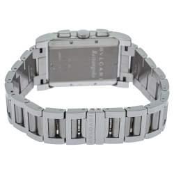 Bvlgari White Stainless Steel RTC49S Rettangolo Chronograph Quartz Men's Wristwatch 29MM