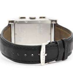 Bvlgari Silver Stainless Steel Rettangolo RTC49S Chronograph Men's Wristwatch 49 MM