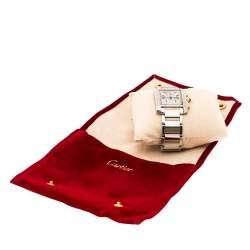 Cartier Cream 18K Yellow Gold Stainless Steel Tank Francaise Chronoflex 2303 Men's Wristwatch 28 mm