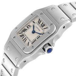 Cartier Silver Stainless Steel Santos W20056D6 Men's Wristwatch 24MM