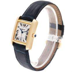ساعة يد رجالية كارتييه تانك فرانسايز W5000156 ذهب أصفر عيار 18 و جلد فضية 28x32 مم